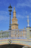 The Plaza de Espana (Spain Square), Seville, Spain. The Plaza de Espana (Spain Square) North Tower and bridge, Seville, Spain royalty free stock image