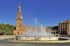 Plaza de Espana (Spain Square), Seville, Spain. The Plaza de Espana (Spain Square) North Tower and fountain , Seville, Spain royalty free stock image