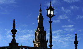 Silhouettes of the Plaza de Espana (Spain Square), Seville, Spain. The Plaza de Espana (Spain Square) North Tower, Seville, Spain royalty free stock photos