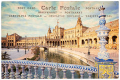 Plaza de Espana Spain square in Seville Andalusia, collage on vintage postcard background. Plaza de Espana Spain square in Seville, Andalusia, collage on vintage stock photography