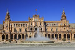 Plaza de Espana or Spain Square in Seville, Andalusia. Plaza de Espana or Spain Square in Seville with the famous fountain on the foreground, Andalusia, Spain Royalty Free Stock Image