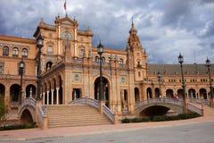 Plaza de Espana Paviljong i Seville Arkivfoto