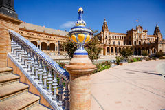 Plaza de Espana, square of Spain, in Seville. Decoration of a channel bridge near the palace royalty free stock photo