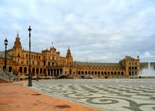 Plaza de Espana, Stunning Historic Square Built for the Ibero-American Exhibition or the Expo 29 in 1929, Seville, Spain royalty free stock image