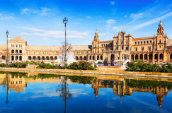 Plaza de Espana in sunny day at Seville Royalty Free Stock Image