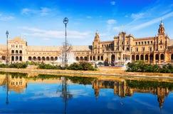 Plaza de Espana in sunny day at Seville Royalty Free Stock Image