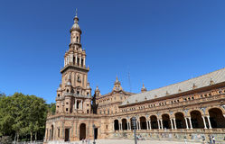Plaza de Espana and tourists- Spanish Square in Seville, Andalusia, Spain Royalty Free Stock Photo
