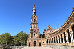 Plaza de Espana and tourists- Spanish Square in Seville, Andalusia, Spain Stock Photos