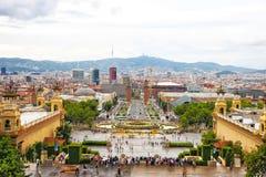Plaza de Espana and Venetian towers on Montjuic in Barcelona Stock Images