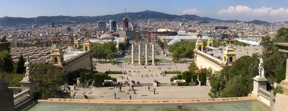 Plaza de Espana and Venetian towers on Montjuic in Barcelona in Spain. Placa Espanya is one of the most important and well-known s Stock Photos