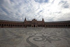 Plaza de Espania, Seville, Spain. Clouds pass over the Plaza de Espania in Seville, Spain Royalty Free Stock Image