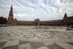 Plaza de Espania, Seville, Spain. SEVILLE, SPAIN -- NOVEMBER 4, 2010 -- The Plaza de Espania is the iconic public courtyard of Seville, Spain Royalty Free Stock Image
