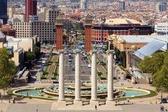 Plaza de Espanya, Βαρκελώνη, Ισπανία (άποψη από το βουνό Montjuich Στοκ Φωτογραφία