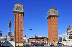 Plaza de Espanya in Barcelona, Spain Stock Images