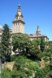 Plaza de Espanya. With the great fountain and Palacio Nacional  at Barcelona Royalty Free Stock Photos