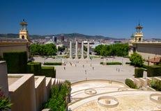 Plaza de Espanya Square,巴塞罗那,加泰罗尼亚,Sp鸟瞰图  图库摄影