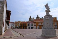 Plaza de la Aduana in der Kolonialmitte von Cartagena, Kolumbien Lizenzfreie Stockfotografie