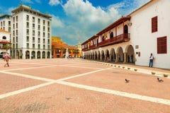 Plaza de la Aduana et la porte de tour d'horloge au fond t Image stock
