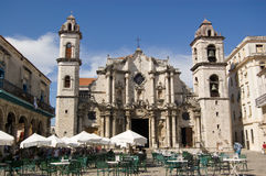 Plaza de la Catedral, Havana, Cuba. View across the Plaza towards Havana's Cathedral with cafe tables in the foreground. Cuba Stock Image
