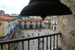 Plaza de la Catedral seen from the bell tower. Havana, Cuba - March 12, 2018: Plaza de la Catedral seen from main bell tower of the ancient Cathedral Royalty Free Stock Photography
