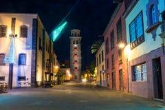 Plaza de la Concepción en San Cristobal La Laguna en la noche foto de archivo