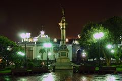 Plaza de la Independencia at night. Liberty Statue, Plaza de la Independencia at night. Quito. Ecuador. South America royalty free stock photo