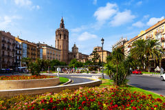Plaza de la Reina and Micalet tower in Valencia, Spain Royalty Free Stock Photo