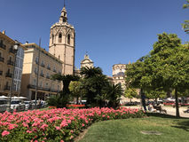 Plaza de la Reina. With the Micalet in Valencia royalty free stock photo