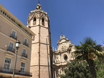 Plaza de la Reina. With the Micalet in Valencia royalty free stock images