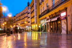 Plaza de la Reina(Queen square) and tourists at night in Valencia, Spain Royalty Free Stock Photos