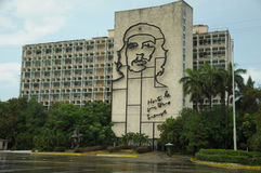 Plaza de la Revolucion in Havana, Cuba. View from Piaza de la Revolucion, Revolution Square, in Cuba capitol Havana, ministry of interior building with Ernesto Stock Image