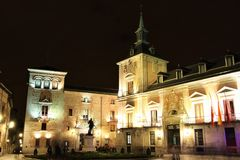 Plaza de la Villa in Madrid, Spain at night Stock Photos