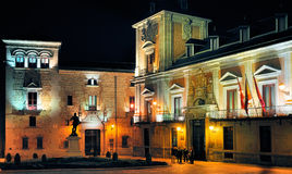 Plaza de la Villa by Night, Madrid Stock Photos