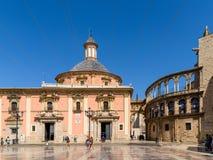 Plaza de la Virgen大教堂广场在巴伦西亚 免版税库存图片
