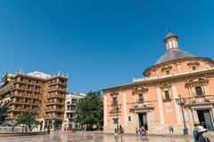 Plaza de la Virgen大教堂广场在巴伦西亚 库存照片