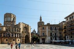 Plaza de la Virgen大教堂广场在巴伦西亚 免版税图库摄影