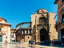 Plaza de la Virgen大教堂广场在巴伦西亚 免版税库存照片