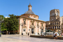 Plaza de la Virgen大教堂广场在巴伦西亚 库存图片