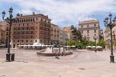 Plaza de la Virgen à Valence Image stock
