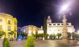 Plaza de la Virgen de los Reyes i natt Seville royaltyfria bilder