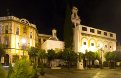 Plaza de la Virgen de los Reyes in night. Seville Stock Photos