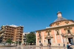Plaza de la Virgen Domkyrka fyrkant i Valencia Arkivfoto