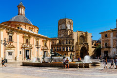 Plaza de la Virgen Domkyrka fyrkant i Valencia Arkivfoton