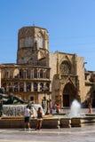 Plaza de la Virgen Domkyrka fyrkant i Valencia Fotografering för Bildbyråer