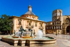Plaza de la Virgen Domkyrka fyrkant i Valencia Royaltyfria Bilder