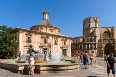 Plaza de la Virgen Domkyrka fyrkant i Valencia Royaltyfri Bild