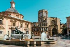 Plaza de la Virgen Domkyrka fyrkant i Valencia Royaltyfri Foto