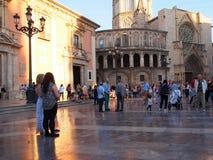 Plaza DE La Virgen, Valencia, Recente Middagzonlicht Stock Foto