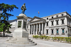 Plaza de las Cortes and Spanish Congress of Deputies in Madrid, Stock Photos