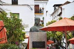 Plaza de los Naranjas在太阳海岸的安达卢西亚,西班牙马尔韦利亚 免版税库存照片
